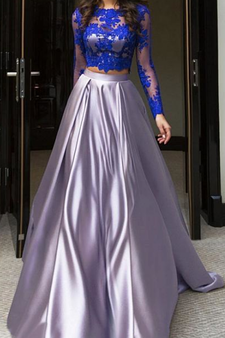Charming Prom Dress,NEW Chic Tulle & Satin Jewel Neckline A-Line Two-piece Prom Dress With Lace Appliques, Formal Evening Dress,Formal Gown