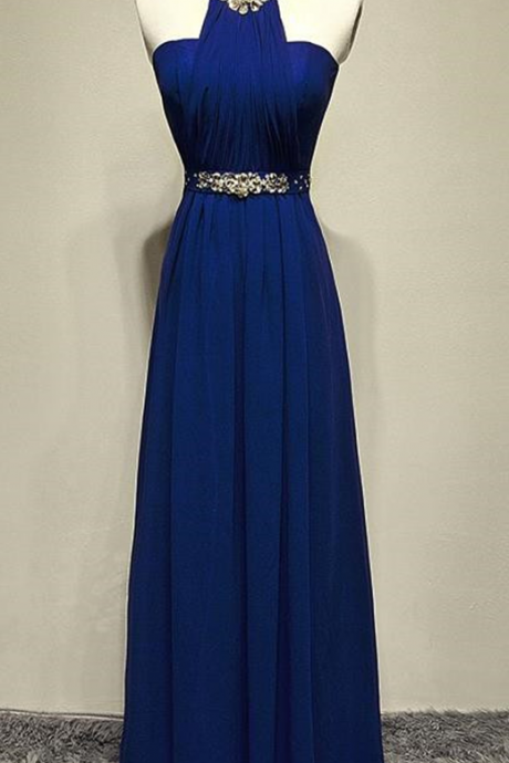 Halter prom dress,long prom dress ,chiffon evening gowns,backless prom dress,navy blue bridesmaid dresses,Charming Prom Dress,Sleeveless Formal Evening Dress,Formal Gown