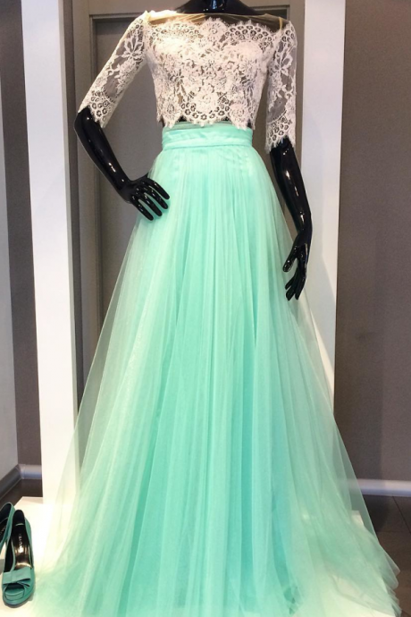 Two piece Lace prom dress,prom dresses with sleeves,long prom dresses ,elegant prom dress,tulle dress,Charming Prom Dress,Sleeveless Formal Evening Dress,Formal Gown