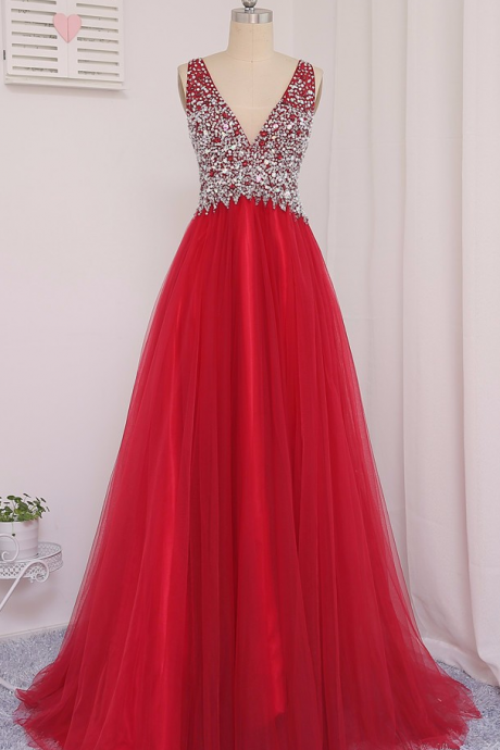 Soft Tulle Prom Dress,New Actual Photo 2017 Red A-Line V-Neck Floor-Length Beaded Crystal Prom Dresses Vestido De Festa Evening Gowns,Beading Girl Prom Party Dress ,Sleeveless Formal Evening Dress,Formal Gown