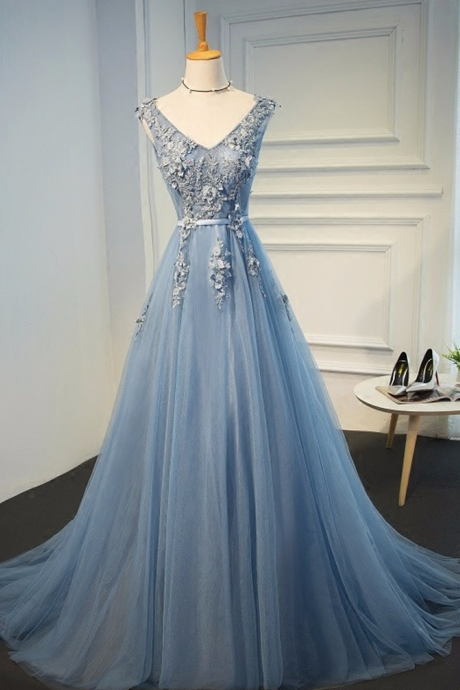 Charming Prom Dress,Blue Evening Gowns Dresses 2017 Plus Size Tulle Appliques Long Formal Dresses V Neck Lace Up Sleeveless Robe De SoireeA
