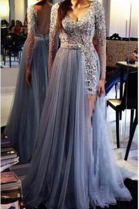 Elegant Light Blue Charming Prom Dress, V Neck Open Back Long Sleeve Tulle Floor Length Prom Dresses With Beaded Lace Applique