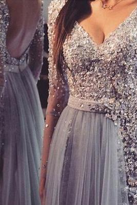 Long prom dress,v-neck prom dress,sequin prom dress,long sleeve prom dress,sexy prom dress,open back prom dress, popular prom dress,Wedding Guest Prom Gowns, Formal Occasion Dresses,Formal Dress