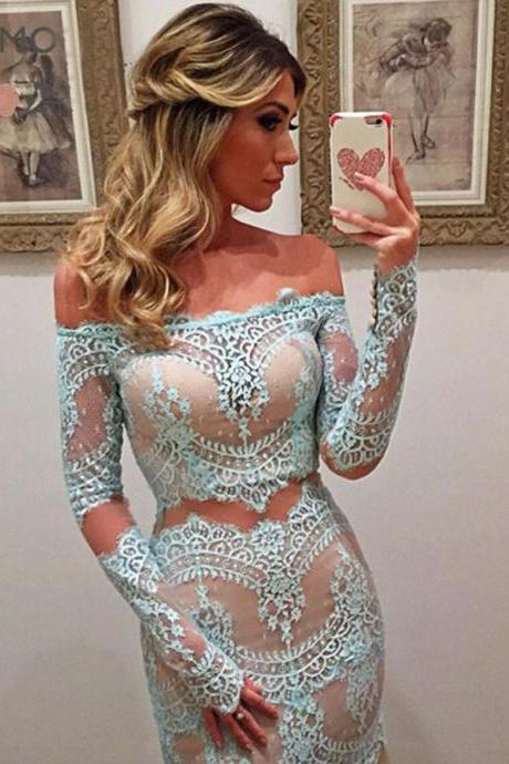 Prom Dress,Delicate Off Shoulder Long Sleeves Sheath Turquoise Lace Prom Dresses,Lace Evening Dresses,Wedding Guest Prom Gowns, Formal Occasion Dresses,Formal Dress