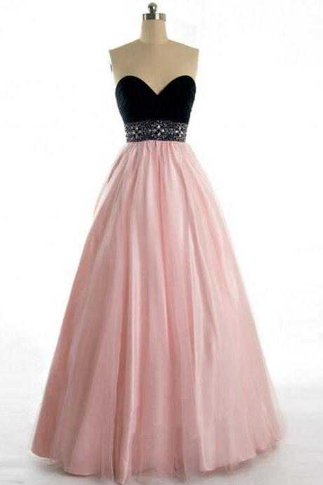 Hot Sell Floor Length Prom Dress, for Pageant - Black and Pear Pink Sweetheart Tulle with Beaded Prom Dresses