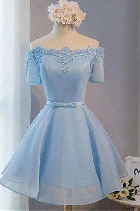 Elegant A-line Homecoming Dress,Off-the-shoulder Above-knee Blue Tulle Homecoming Dress with Appliques