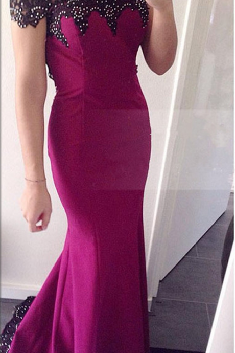 Prom Dress,Sexy Boat-Neck Evening Dress, Beaded Evening Dress,Black Lace Appliques Evening Gowns,Stretch Evening Dress,Mermaid Evening Dress Fuchsia Evening Dress,High Quality Graduation Dresses,Wedding Guest Prom Gowns, Formal Occasion Dresses,Formal Dress
