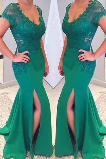 V-neckline Prom Dress ,Short Sleeves Prom Dress, Mermaid Lace Applique Green Prom Dresses 2017 Prom Dress
