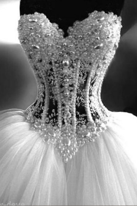 Wedding Dress,Gorgeous White Pearl Rhinestone Sparkly Bridal Dress, Ball Gown Wedding Dresses Customize