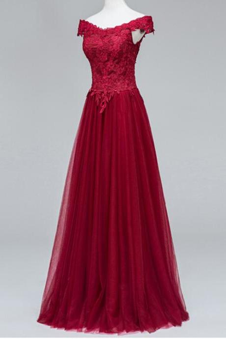 Sexy Burgundy Lace Appliques Prom Dress, Tulle Formal Dress Featuring V Neckline And Lace-Up Back