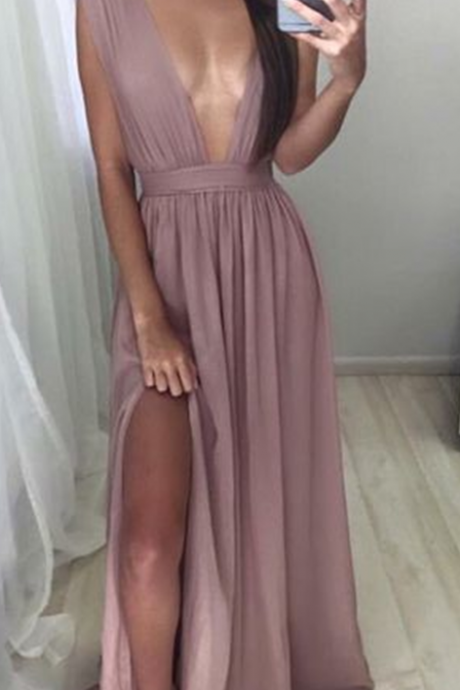 Sexy V neck Prom Dress,New Arrival Prom Dress,Sexy deep V-neck long prom dress,evening dress