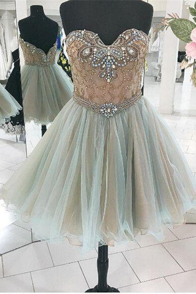 Sweetheart Homecomig Dress,Beaded Prom Dress,Mini Prom Dress,Fashion Homecomig Dress,Sexy Party Dress, New Style Evening Dress