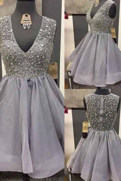 Grey Homecomig Dress,Beaded Prom Dress,Mini Prom Dress,Fashion Homecomig Dress,Sexy Party Dress, New Style Evening Dress