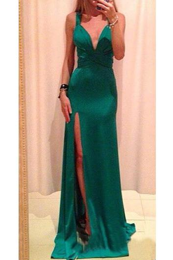 Backless Prom Dress,Bowknot Prom Dress,Split Prom Dress,Fashion Prom Dress,Sexy Party Dress, 2017 New Evening Dress