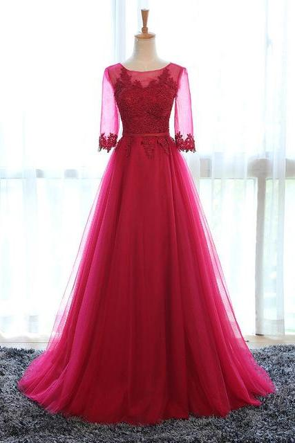 Middle Sleeve Prom Dress,Lace Prom Dress,A Line Prom Dress,Fashion Bridesmaids Dress,Sexy Party Dress, New Evening Dress