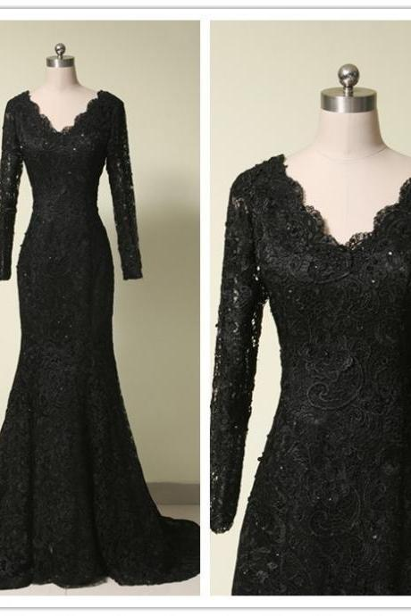 V Neck Prom Dress,Lace Prom Dress,Black Prom Dress,Fashion Prom Dress,Sexy Party Dress, New Evening Dress