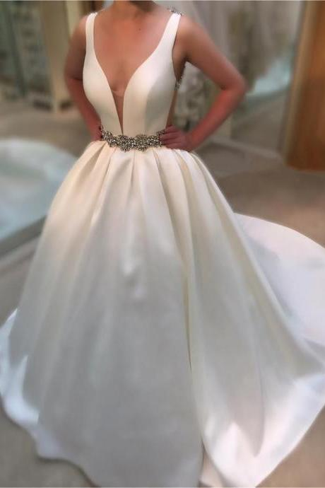 Wedding Dress, Wedding Gown,Deep V Neck White Satin Ball Gowns Wedding Dresses 2017 Vintage Bridal Gowns