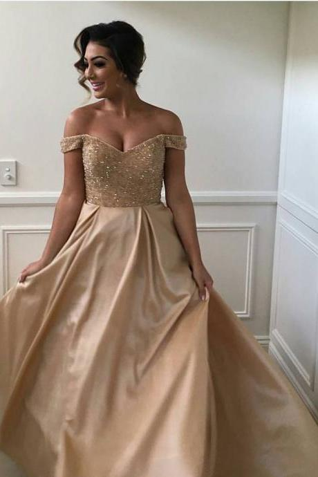 New Arrival Prom Dress,Modest Prom Dress,sexy off the shoulder sequins and beaded sweetheart long satin ball gowns prom dress,gold prom dress,prom gowns
