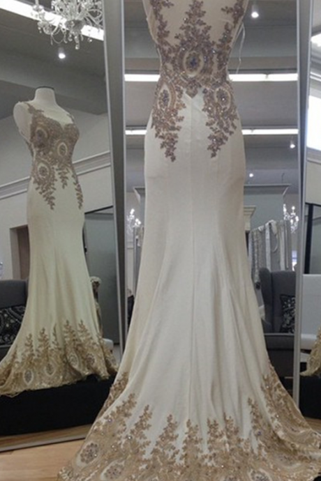 New Arrival Prom Dress,Modest Prom Dress,Ivory Chiffon Gold Lace Appliques Mermaid Evening Dresses Long Prom Gowns