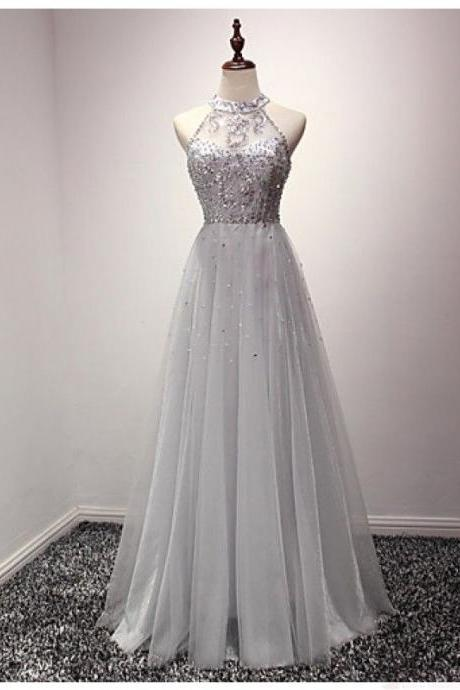 Gray Prom Dress,Tulle Prom Dress,Prom Dresses,Gray Prom Dresses,Formal Gown,Ball Gown Evening Gowns,Modest Party Dress,Prom Gown For Teens