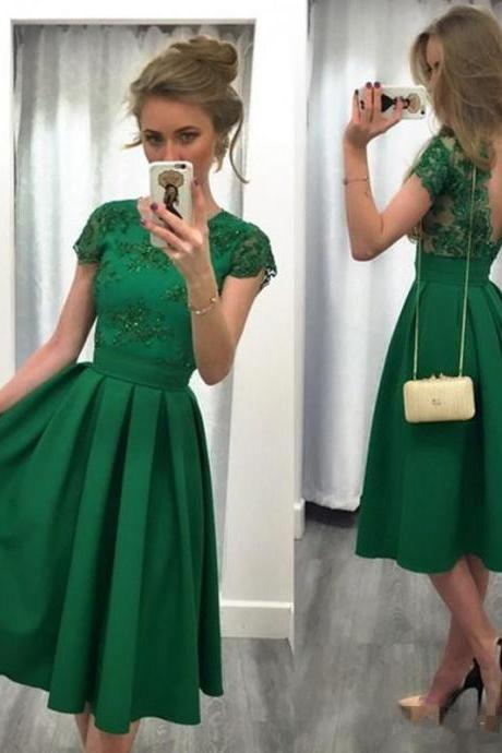 Evening Party Dress, A-line Cap Sleeve Lace Party Dresses, in Green Prom Evening Dress