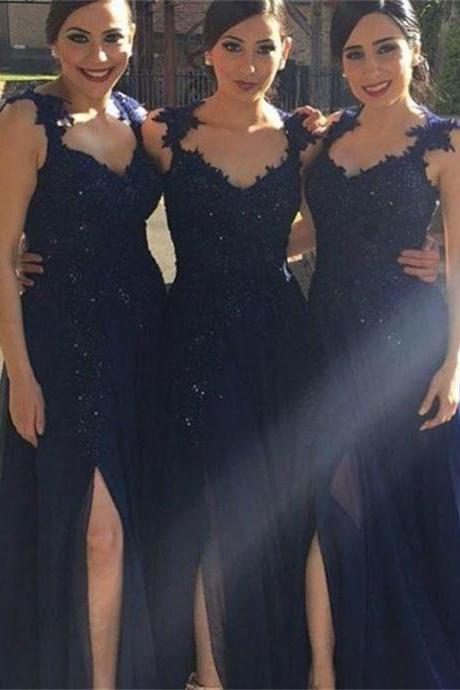 Navy Bridesmaid Dress,Cap Sleeve Bridesmaid Dress, Long Bridesmaid Dresses, Cheap Bridesmaid Dresses, Bridesmaid Prom Dress,Hot-selling A-line Dark Navy Slit Long Chiffon Bridesmaid Dress with Appliques