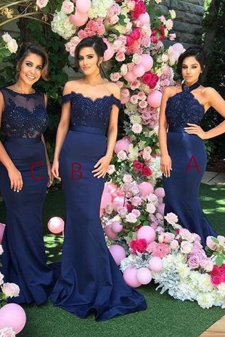 Navy Blue Bridesmaid Dress,Mermaid Long Bridesmaid Dresses,Bridesmaid Dresses,Bridesmaid Dresses 2017,Sexy Different Styles Mermaid Royal Blue Long Affordable Wedding Bridesmaid Dresses, Prom Dresses