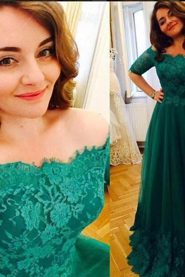 Formal Dress,Short Sleeve Prom Dresses, Princess Green Lace Prom Dresses,A Line Evening Dress,High Quality Prom Dress,Custom Made Evening Prom Dress,Hot Sale Prom Dress