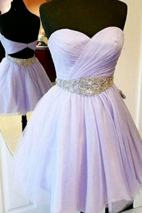 Charming Short homecoming Dress,Lavender Prom Dresses,Chiffon Prom Dresses,Strapless Prom Dresses,Sweetheart Prom Gowns,homecoming dresses