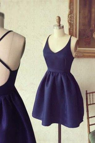 Simple Short Homecoming Dress,A-line Homecoming Dresses,Navy Blue Homecoming Dresses,Sleeveless Homecoming Dresses,Backless Homecoming Dresses