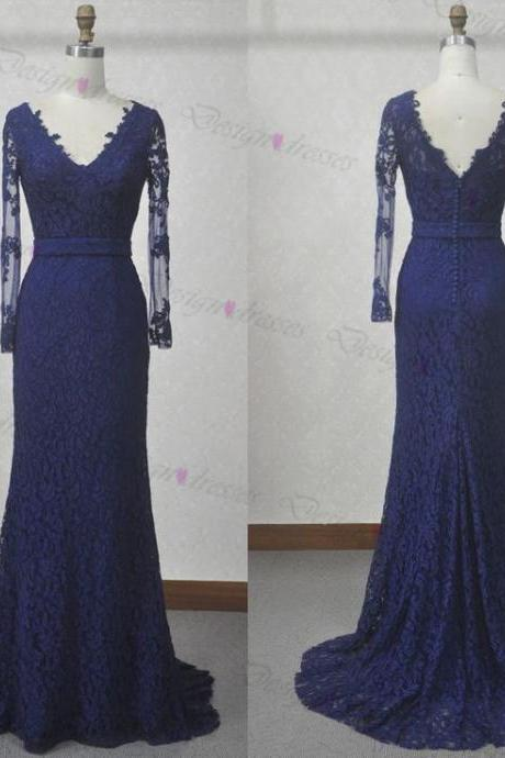 Lace prom dress,long sleeve prom dress,V-neck prom dress,Sexy prom dresses,prom dresses ,Cheap prom dresses,Long prom dress,dress for prom