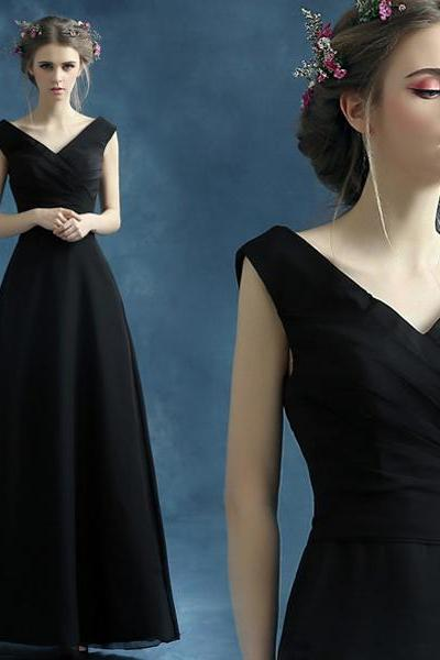 Long prom dress, BLACK prom dress, party prom dress, v-neck prom dress, cheap prom dress, prom dress 2017, evening dress