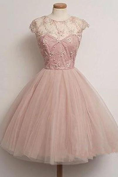 Homecoming Dress, blush pink tulle Prom Dresses, party Dresses for girls,prom dress for teens,Graduation Dress,discount prom dress online