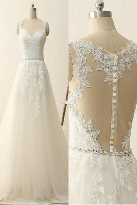Wedding Dress,Close Back Lace Tulle Handmade Wedding Dresses,Elegant A-line Wedding Gowns,Pretty Bridal Gowns