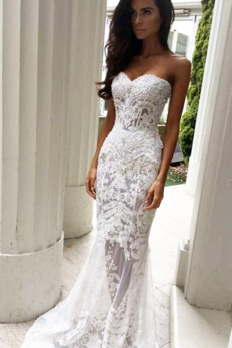 Lace Wedding Dress,Charming Sheath Sweetheart Wedding Dresses with Appliques, Lace Wedding Dresses,Strapless Bridal Dresses,Long Wedding Dresses