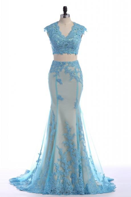 Two Piece Prom Dress,Mermaid Prom Dresses,Long Evening Dress