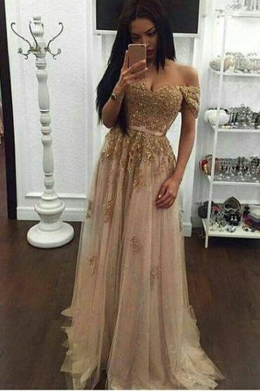 Off the shoulder Gold Prom Dress,Long Prom Dresses,Charming Prom Dresses,Evening Dress, Prom Gowns, Formal Women Dress,prom dress,F256