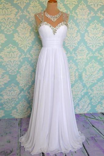 White prom dress, long prom dress, custom prom dress, chiffon prom dress, cheap prom dress, beach wedding dress