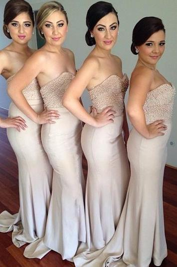 Long mermaid bridesmaid dress, sweetheart bridesmaid dresses,sleeveless bridesmaid dresses,simple bridesmaid dress
