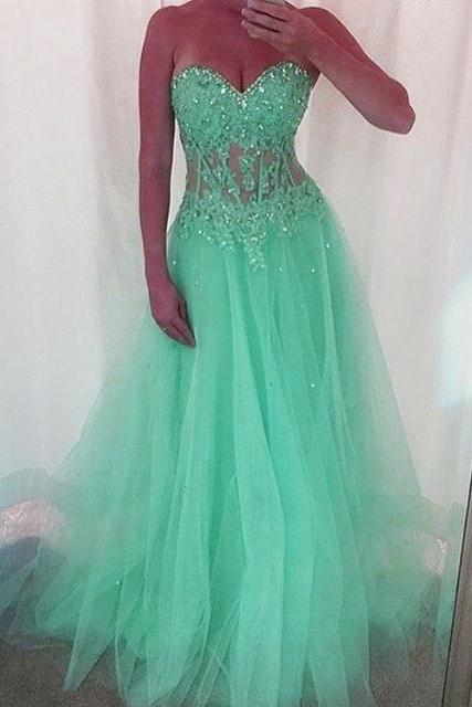 Mint Green Long Tulle Prom Dresses, Sweetheart Prom Dress,Neckline With Lace Appliques Formal Dress,New Arrival