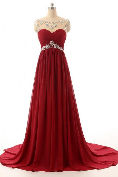 New Arrival Wine Red Long Prom Dresses,Custom Made Beading Chiffon Evening Dresses