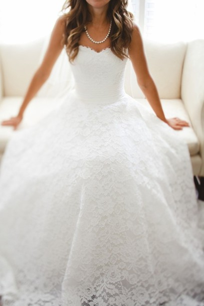 Lace Sweetheart Floor Length Wedding Dress