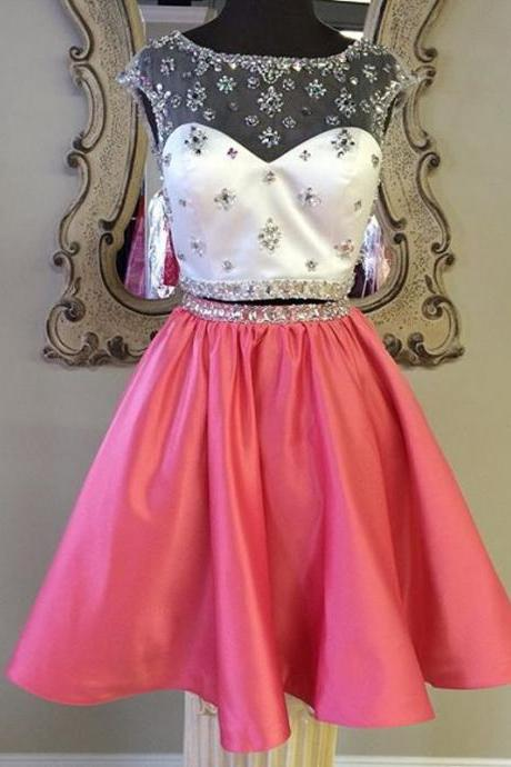 Coral Homecoming Dress,2 Piece Homecoming Dresses,Silver Beading Homecoming Gowns,Short Prom Gown,Coral Pink Sweet 16 Dress,Homecoming Dress,2 pieces Cocktail Dress,Two Pieces Evening Gowns