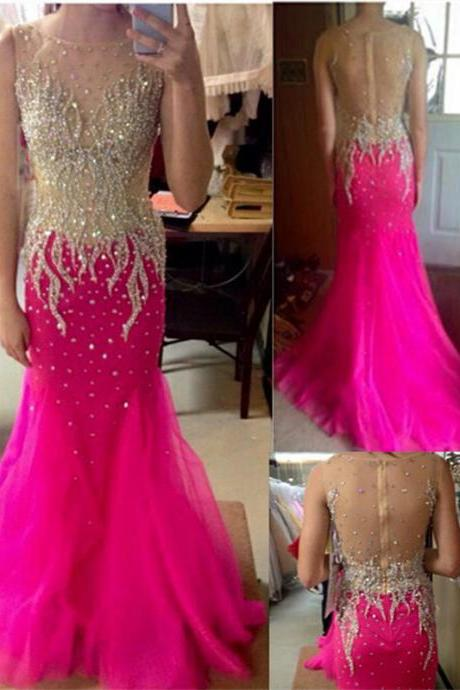 Luxury beads Prom Gown,Pink Prom Dresses,Sparkle Evening Gowns,Mermaid Formal Dresses,Pink Prom Dresses ,Tulle Evening Gowns,Backless Prom Gown