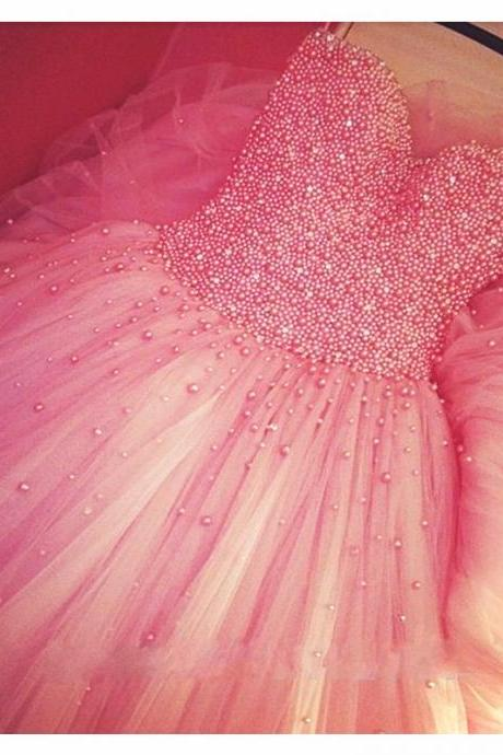 Tulle Prom Dress,Pink Prom Dress,Modest Prom Gown,Chiffon Prom Gowns,Beading Evening Dress,Princess Evening Gowns,Sparkly Party Gowns