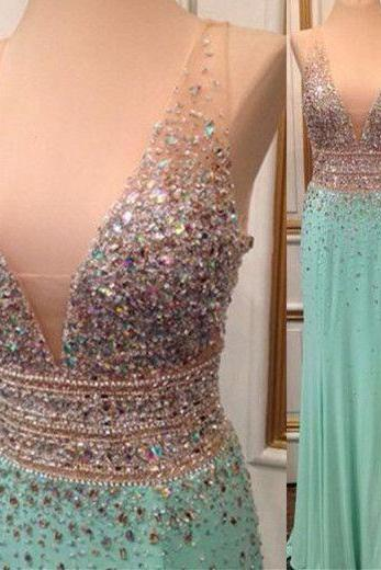 Mint Green Prom Dress,Backless Evening Gowns,Sexy Formal Dresses,Beaded Prom Dresses,Fashion Evening Gown,Open Backs Evening Dress