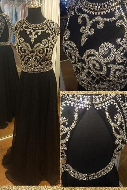 Sexy Prom Dress,Black Prom Dress,Chiffon Backless Evening Gown,Long Formal Dress,Backless Prom Gowns,Open Backs Evening Dresses,Black Party Gowns