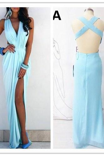 Prom Dress, Light Blue Prom Dress, V-neck Prom Dress, Ruffles Prom Dress, Sleeveless Prom Dress, Sexy Prom Dress, Side Slit Prom Dress, Beach Evening Gowns, Hot Sale Prom Dress, Custom Dress