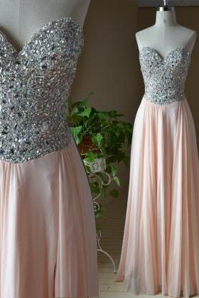 Prom Dresses,Blush Pink Evening Gowns,Sexy Formal Dresses,Chiffon Prom Dresses,Fashion Evening Gown,Sexy Evening Dress,Party Dress,Bridesmaid Gowns