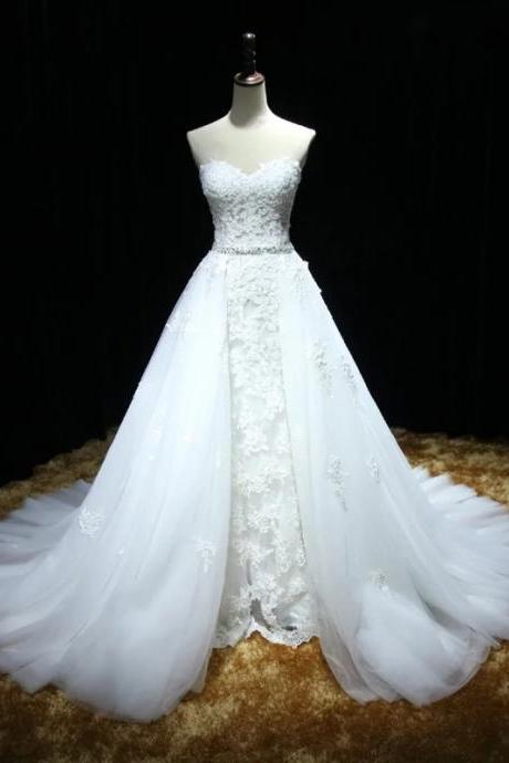 Sweetheart Full Lace Mermaid Wedding Dress featuring a Detachable Skirt and Train with Lace Up Back,tulle Bridal Dress